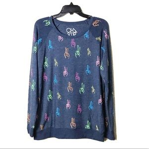 Chaser Peace Fingers Knit Soft Sweatshirt Top XL